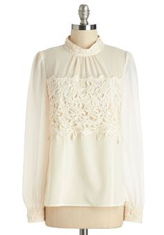 That's More Ladylike It Top in Ivory. Sweetness is a signature of your style, so its no surprise that you often wear this pretty sheer blouse. #cream #modcloth