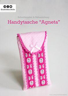 """Handytasche / Smartphonetasche """"Agneta"""" für alle Handygrößen  Zum kostenlosen Schnittmuster: http://www.kreativlaborberlin.de/naehanleitungen-schnittmuster/handytasche-smartphonetasche-agneta/"""