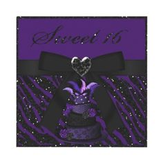 Elegant Sweet 16 purple diva masquerade cake and glitter zebra animal print with bow and heart jewel invitations. Decorated both sides. Easy to personalize online. $1.95