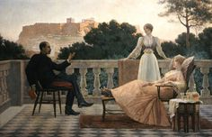 Athenian Evening or On the Terrace, Iakovos Rizos or Iacovos Rizos (Greek: Ιάκωβος Ρίζος, also known as Jacques Rizo, was a Greek painter who worked primarily in Paris. Austin Osman Spare, August Sander, Albert Bierstadt, Alphonse Mucha, Rodin, Eros And Psyche, Greek Paintings, Athens Acropolis, Impressionism
