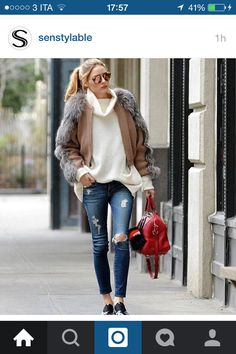 Camel grey white and jeans oufit