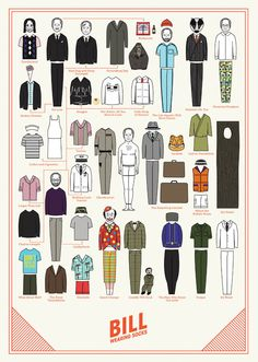 Bill Murray paper doll out fits-Bill Wearing Socks(a thank you card tribute) by Niege Borges