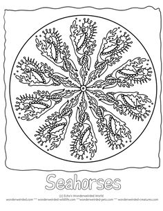 Seahorse Animal Mandalas To Color,Free Seahorse Coloring Pages Mandala for Kids Seahorse Pictures from our Ocean Coloring Pages Collection ,  Mandala Picture to Color for your kids