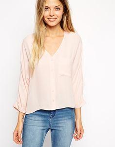 ASOS – Langärmlige Bluse mit V-Ausschnitt