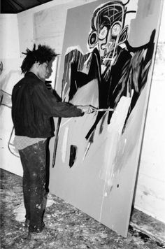 Jean-Michel Basquiat in his studio in the basement of Annina Nosei Gallery in Photos by Marion Busch Jean Basquiat, Jean Michel Basquiat Art, Artist Art, Artist At Work, Basquiat Paintings, Oil Paintings, Robert Rauschenberg, Black Artists, Warhol