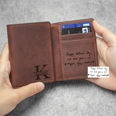Personalized Trifold Wallets, Handwriting Wallet For Men, Husband Boyfriend Leather Gifts, Custome Leather Wallet, Anniversary Gift For Him Cool Gifts, Awesome Gifts, Best Gifts, Leather Gifts, Leather Wallet, Aluminum Wallet, Work Badge, Christmas Gifts For Men, Anniversary Gifts For Him