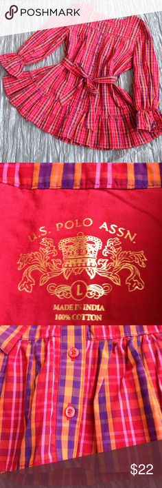 U.S. Polo Assn. tunic Playful yet classic style. Button-down front, ruffled hem and sleeves. Belted waist. Red, purple, orange, pink plaid. Excellent condition! U.S. Polo Assn. Tops Tunics