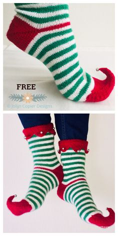 Knit Christmas elf socks Free knitting patterns - Knitting pattern Knit Christmas elf socks Free knYou can find Socks and mo. Christmas Knitting Patterns, Knitting Patterns Free, Free Knitting, Baby Knitting, Knitted Socks Free Pattern, Elf Slippers, Knitted Slippers, Patterned Socks, Christmas Elf