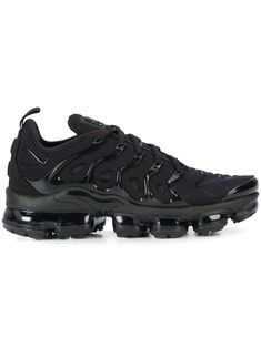 Black cotton Air VaporMax Plus lace-up sneakers from Nike featuring a logo patch at the tongue, a round toe, a lace-up front fastening and a ridged rubber sole. Please note this item is unisex and sold in men's sizing. Tenis Nike Air, Nike Air Shoes, Nike Tennis Shoes, Nike Air Vapormax, Adidas Shoes, Cool Nike Shoes, Sports Shoes, Basketball Shoes, Moda Sneakers