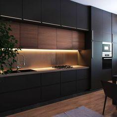 Modern Kitchen Interiors, Luxury Kitchen Design, Kitchen Room Design, Kitchen Layout, Home Decor Kitchen, Interior Design Kitchen, Kitchen Ideas, Modern Kitchen Cabinets, Design Room