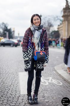 #LiuWen all wrapped up #offduty in Paris.