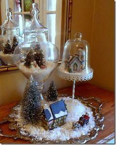 Christmas Village on a Platter