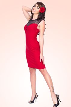 Steady Clothing - Mary Lou Wiggle Dress Black and Red