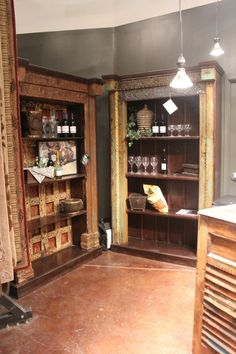 These old-world style bookcases are AMAZING!!  I would put these in my home office.  They have so much character!  I love how they have the decorative insets.  These are very unique, I've never seen anything like them!