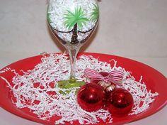 Hand Painted Wine Glass Tropical Holiday Palm by ArtworkByKimTyson, $17.75