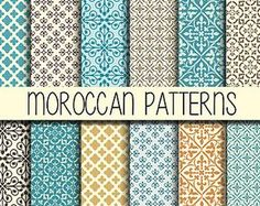 Items similar to Bohemian Boho Chic, Moroccan Digital Paper 12 X 12 Scrapbook Paper Pack, Geometric Design Moroccan Patterns, Art Deco Patterns on Etsy
