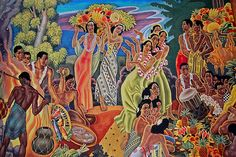 'Island Feast', mural by Eugene Francis Savage, Matson Navigation Company; In 1938 the Matson Lines commissioned him to paint murals depicting native Hawaiian life, which were later adapted for menus and other memorabilia. http://en.wikipedia.org/wiki/Eugene_Savage
