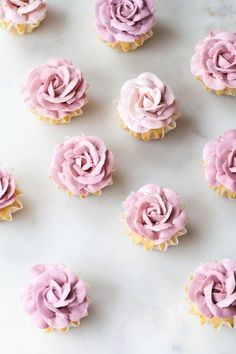 White chocolate-studded vanilla cupcakes with Swiss meringue buttercream piped roses from Linda Lomelino's new book, My Sweet Kitchen! Cupcakes Flores, Flower Cupcakes, Pink Cupcakes, Easter Cupcakes, Valentine Cupcakes, Mocha Cupcakes, Strawberry Cupcakes, Velvet Cupcakes, Christmas Cupcakes