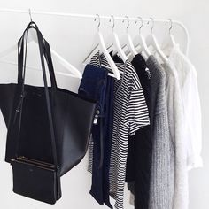 minimal | classic | black & white | hanging storage | leather | clothing
