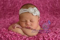 Newborn Baby Toddler Girl White Pearls and Lace Baptism Christening - Bridal Headpiece - Newborn Headband and Photo Prop on Etsy, $12.50