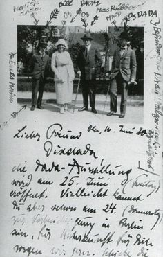 Postcard photograph from John Heartfield and George Grosz to Otto Dix, Berlin, 16 June 1920, from left to right: John Heartfield, Eva Grosz, George Grosz, Otto Schmalhausen. Visual Arts Autograph Collection.