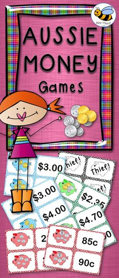 5 exciting games that require minimal preparation – just print, cut and laminate (if desired). A bank of coins, dice and counters are also. 2nd Grade Activities, Money Activities, Money Games, 1st Grade Math, Teaching Activities, Math Resources, Teaching Math, Grade 1, Australia School
