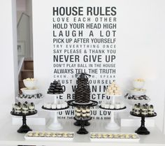 A Blissful Nest Sweet Style Black White 40th birthday {BN Black Book of Parties} Black and White Dessert Table