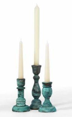 DIY - Paint a Patina on Wooden Candlesticks