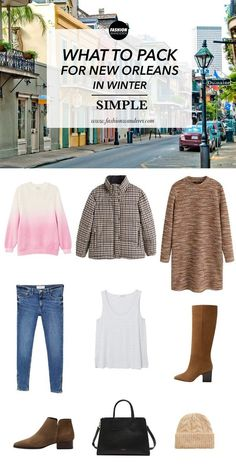 Simple Outfit: What To Pack For New Orleans In Winter - Holiday Resort Winter Travel Outfit, Winter Packing, Winter Outfits, New Orleans Travel Guide, New Orleans Fashion, Travel Clothes Women, Travel Wardrobe, What To Pack, Simple Outfits