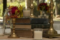 Love how our bride used old books as part of her centerpiece!