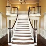 entrances/foyers - vaulted ceiling 2 story freestanding staircase brass lantern  Gorgeous 2 story entry foyer with freestanding staircase, vaulted