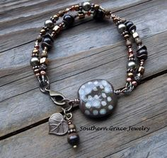 Brown and Olive Green Kazuri Pita Pat by SouthernGraceJewelry