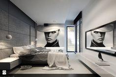 RZGÓW - Duża sypialnia małżeńska z balkonem / tarasem, styl nowoczesny - zdjęcie od pijankastudio