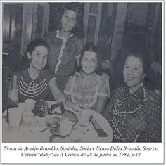 """Neusa de Araújo Brandão, Soninha, Sória e Neusa Didia Brandão Soares. Coluna """"Baby"""" do A Crítica de 28 de junho de 1982."""