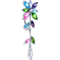 Multicolor Jeweled FLOWERING IVY Top Dangle Belly Ring $15.99 #bodycandy #bellyring #flower