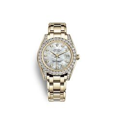 Discover the Pearlmaster 34 watch in 18 ct yellow gold with lugs set with diamonds on the Official Rolex Website. Rolex Watches For Men, Luxury Watches, Women's Watches, Rolex Bracelet, Bracelet Watch, Omega Gold Watch, Solid Gold Bracelet, New Rolex, Gold Rolex