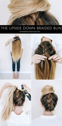A fun twist on two old classic hairstyles. This upside down braid only take a second and the bun finishes it off in style.