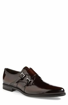 Free shipping and returns on Prada 'Spazzolato' Double Monk Strap Shoe (Men) at Nordstrom.com. Richly burnished leather forms a bold double-monk shoe cast in a sleek, eye-catching silhouette.