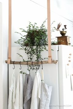 DIY kitchen towel hanger made from a branch and beautiful leather