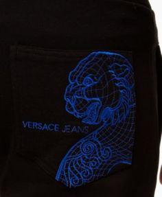 Versace Jeans Men's Embroidered Pocket Jogger Sweatpants - Black M