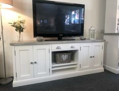 6ft Shaker Distressed Grey Tv Stand – Farmhouse-Furniture-Shop Farmhouse Tv Stand, White Farmhouse, Distressed Furniture, Farmhouse Furniture, Fireplace Tv Stand, Fireplace Ideas, Family Room Furniture, Farrow And Ball Paint, Living Room Grey