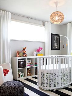 This black-and-white nursery is perfect -- the palette is a sophisticated choice for a unisex nursery and is flexible enough to grow with baby's changing tastes.