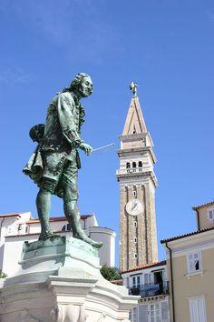 Statue of Giuseppe Tartini in Piran, Slovenia Istria Croatia, Central Europe, Montenegro, Alps, Wonders Of The World, Statue Of Liberty, City, Homeland, Country