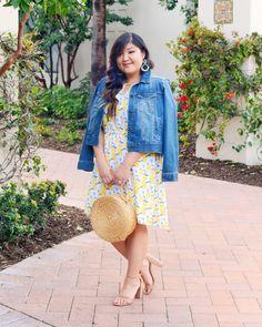 Loving this spring-ready, lemon print dress from Stitch Fix! Lemon Print Dress, What I Wore, I Dress, Stitch Fix, Plus Size Fashion, Straw Bag, Curvy, Fashion Looks, Warm