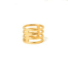 Cage inspired ring. 14k gold plate. Available in size 7. For additional sizes, please inquire.  Handmade in South Carolina. Read More →