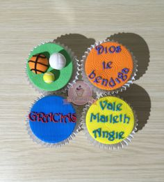Cupcakes deporte baloncesto. Cupcakes con mensaje