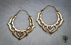 Large Brass Lotus Hoop Earrings Tribal Earrings Mandala Earrings Tribal Jewellery Brass Hoops Ethnic Jewelry Bohemian Earrings