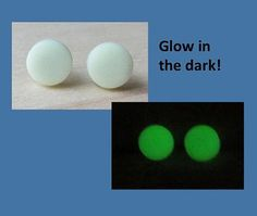 Round Matte Glow in Dark Studs Earrings by ColorfulClay on Etsy
