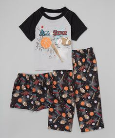 Another great find on #zulily! Black 'All Star' Pajama Set - Toddler & Boys #zulilyfinds