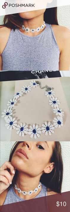 Lace Daisy Flower Choker White & Blue It's Festival Season!! These little babies are perfect for any concert ! This listing is for the white and blue daisy lace choker. Length is 15 inches including extension and lobster clasp. Bundle 2 for $15 and all 3 for $20! Just message me and I will make you you're own listing ! ❣ amannequin Jewelry Necklaces